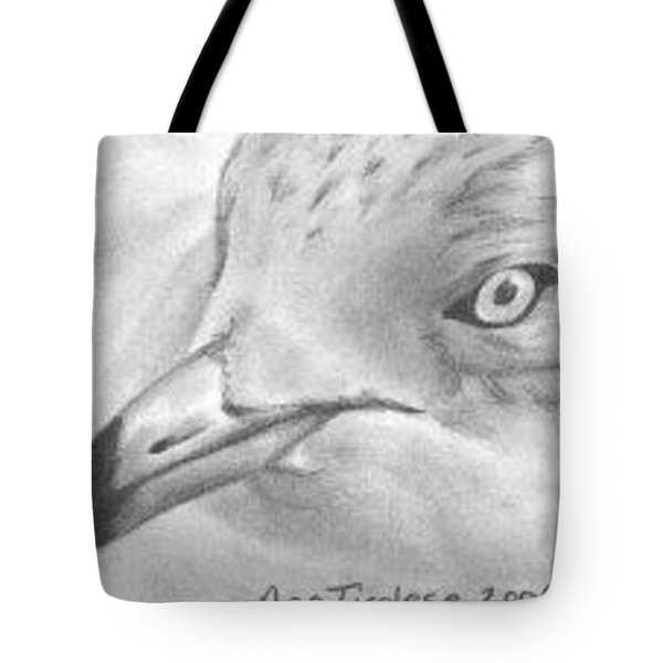 Tote Bag featuring the drawing Seagull - Aceo by Ana Tirolese
