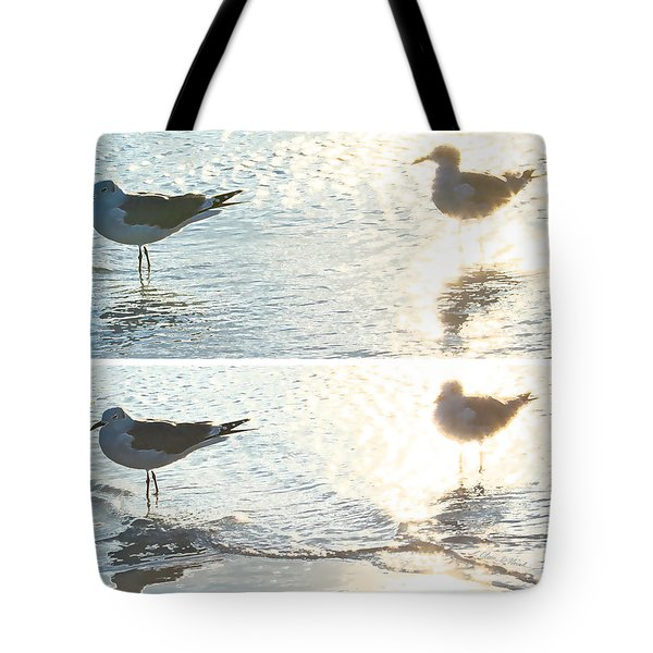 Seagulls In A Shimmer Two Views By Olivia Novak Tote Bag by Olivia Novak