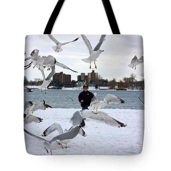 Seagulls In Flight Tote Bag by Gordon Dean II