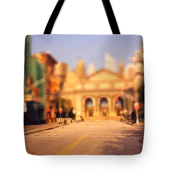 Tote Bag featuring the photograph Seaport Tiltshift by EricaMaxine  Price
