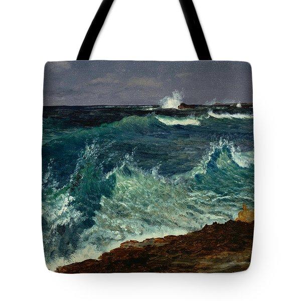 Seascape Tote Bag by Albert Bierstadt