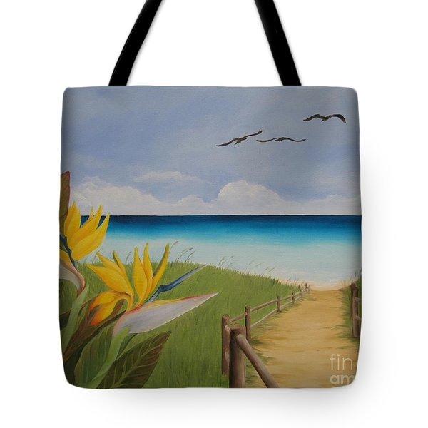 Tote Bag featuring the painting Seascape by Jindra Noewi