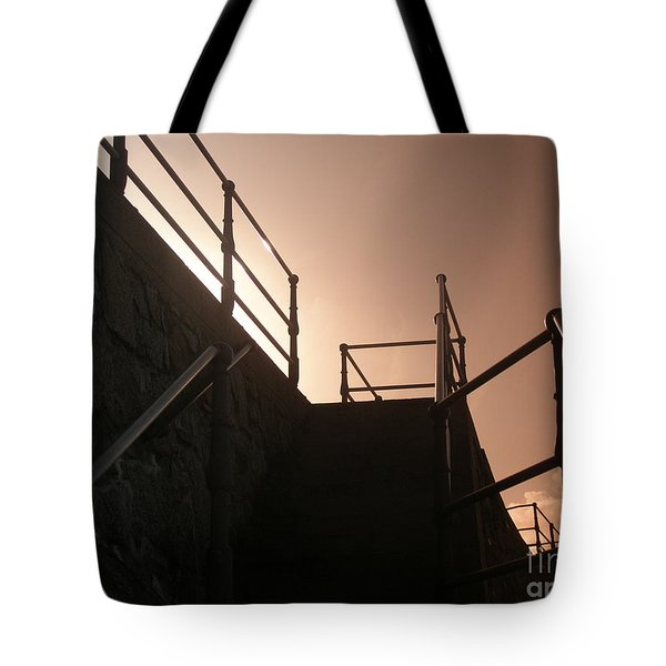Tote Bag featuring the photograph Seaside Railings by Terri Waters