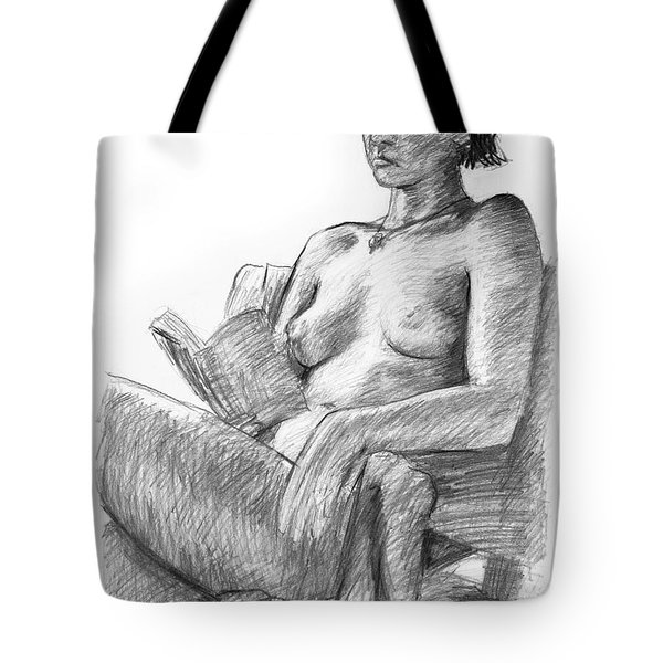 Seated Nude Reading Figure Drawing Tote Bag by Adam Long