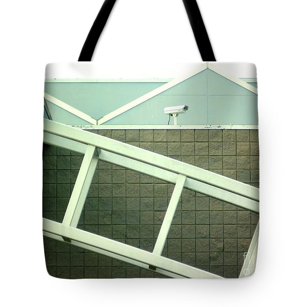 Tote Bag featuring the photograph Security Camera On Government Building by Renee Trenholm