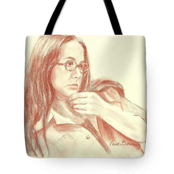 Tote Bag featuring the painting Self Portrait Then by Carol Berning