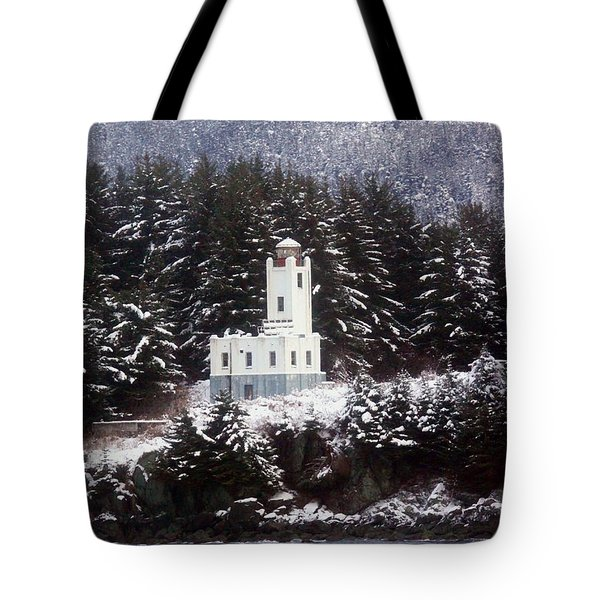Sentinel Island Lighthouse In The Snow Tote Bag by Myrna Bradshaw