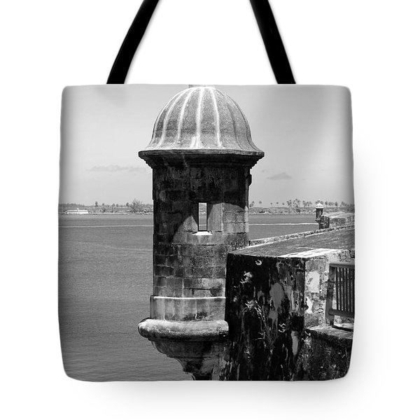 Sentry Tower Castillo San Felipe Del Morro Fortress San Juan Puerto Rico Black And White Tote Bag by Shawn O'Brien