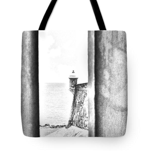 Sentry Tower View Castillo San Felipe Del Morro San Juan Puerto Rico Black And White Line Art Tote Bag by Shawn O'Brien