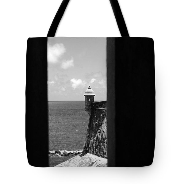 Sentry Tower View Castillo San Felipe Del Morro San Juan Puerto Rico Black And White Tote Bag by Shawn O'Brien