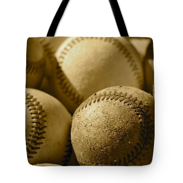 Sepia Baseballs Tote Bag by Bill Owen