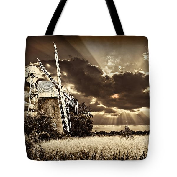 Tote Bag featuring the photograph Sepia Sky Windmill by Meirion Matthias