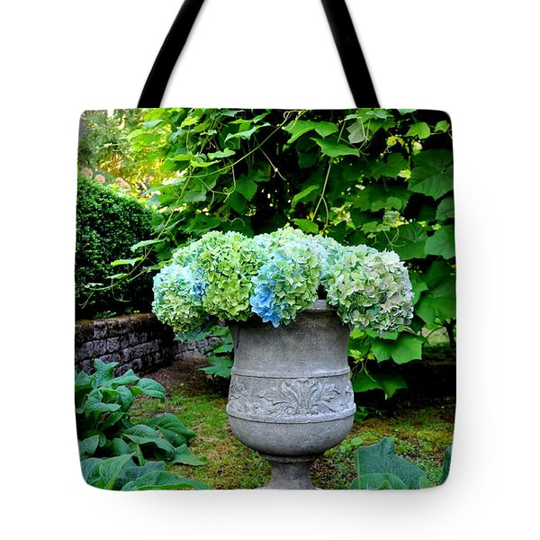 September Hydrangea Tote Bag by Tanya  Searcy