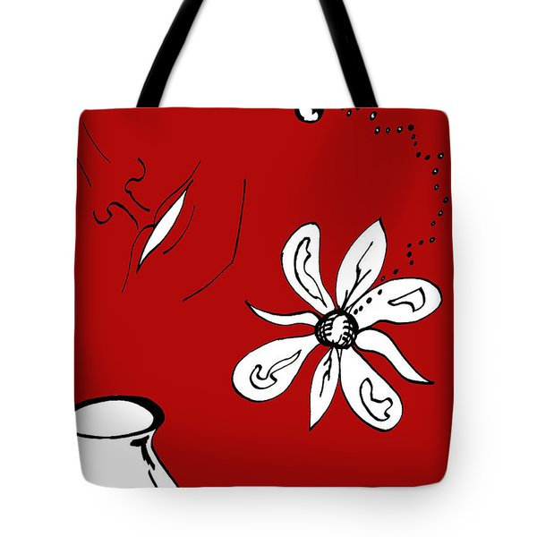 Serenity In Red Tote Bag by Mary Mikawoz