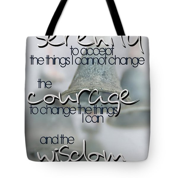 Serenity Prayer With Bells Tote Bag