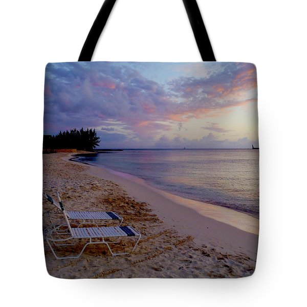 Seven Mile Beach Sunset Tote Bag by Carey Chen
