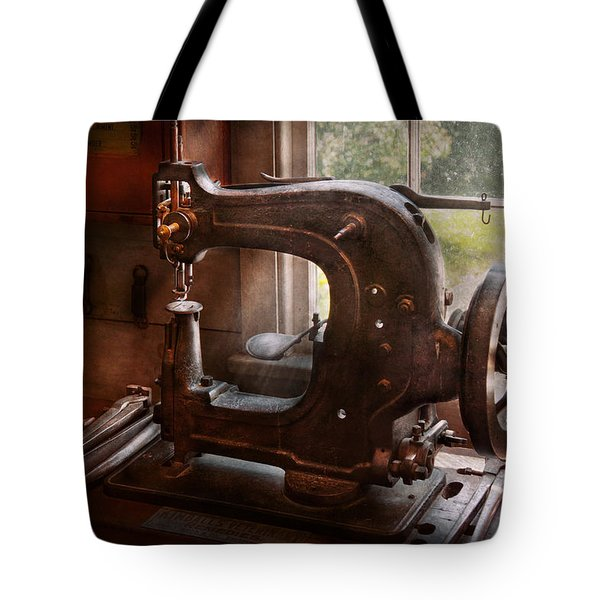 Sewing Machine - Leather - Saddle Sewer Tote Bag by Mike Savad