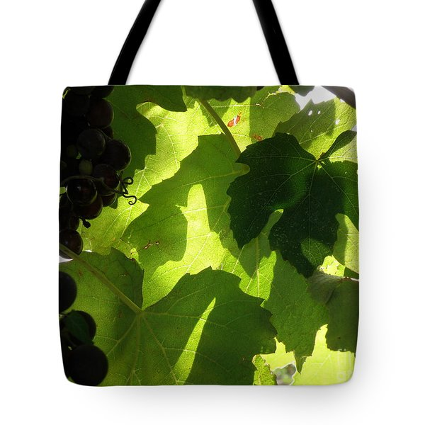 Tote Bag featuring the photograph Shadow Dancing Grapes by Lainie Wrightson