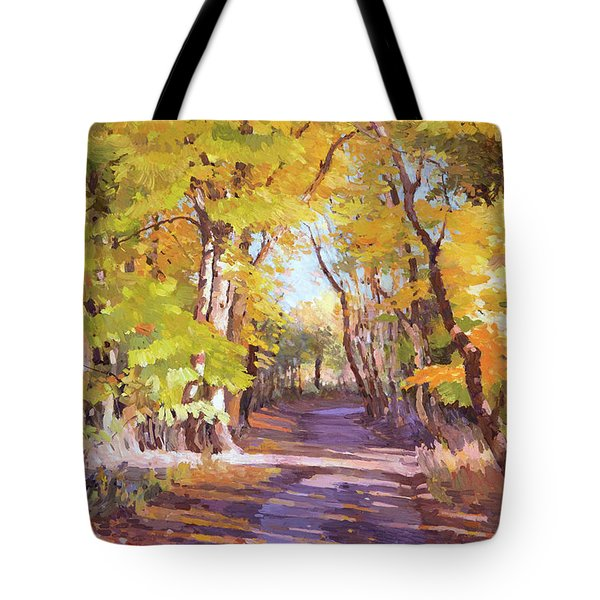 Shady Path At Fall In The Woods Tote Bag
