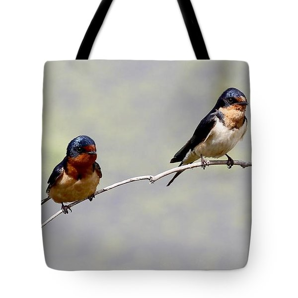Tote Bag featuring the photograph Sharing A Branch by Elizabeth Winter