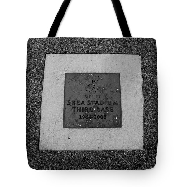 Shea Stadium Third Base In Black And White Tote Bag by Rob Hans