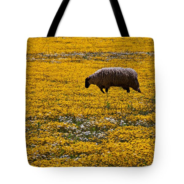 Sheep In Meadow Of Golden Flowers Tote Bag by Garry Gay