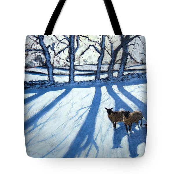 Sheep In Snow Tote Bag by Andrew Macara