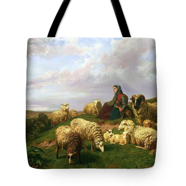 Shepherdess Resting With Her Flock Tote Bag by Edmond Jean-Baptiste Tschaggeny