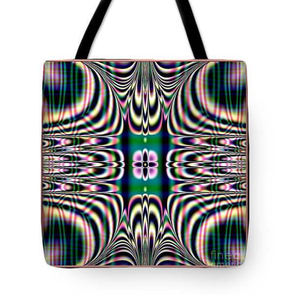 Shimmering Plaid Fractal 66 Tote Bag by Rose Santuci-Sofranko