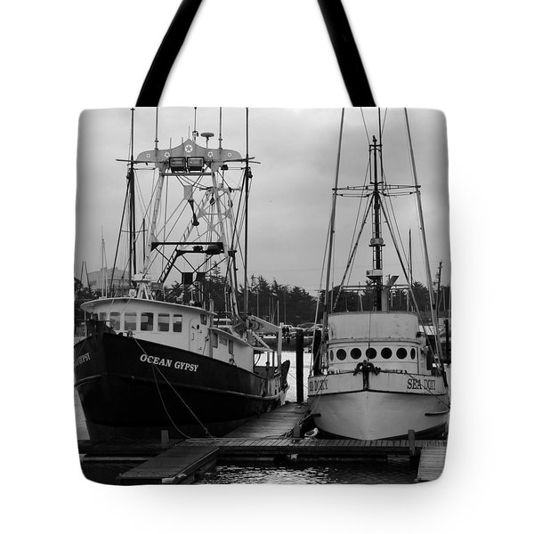 Ships At Anchor Tote Bag by Jeff Lowe