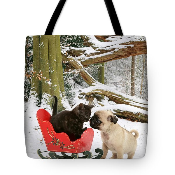 Shorthair Kitten And Pug Tote Bag by Jane Burton