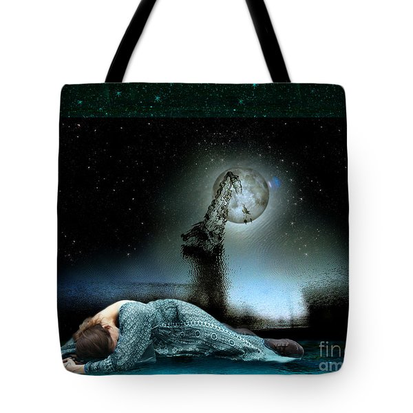 Tote Bag featuring the digital art Shrine Of Dreams by Rosa Cobos