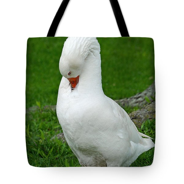 Tote Bag featuring the photograph Shy Goose by Lisa Phillips