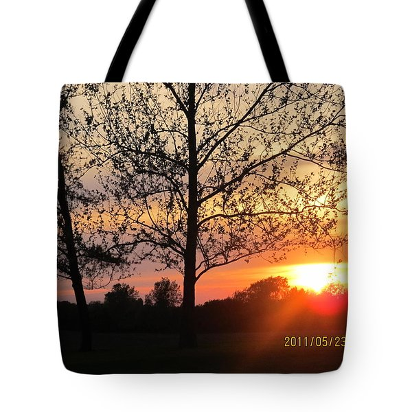Tote Bag featuring the photograph Shy Sunset by Tina M Wenger