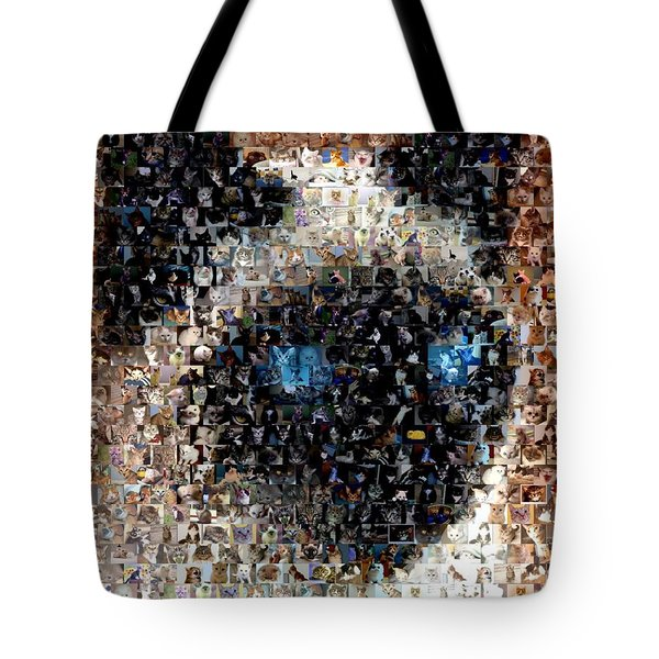 Siamese Cat Mosaic Tote Bag by Paul Van Scott