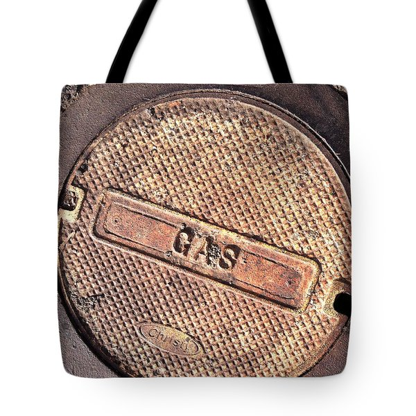 Tote Bag featuring the photograph Sidewalk Gas Cover by Bill Owen