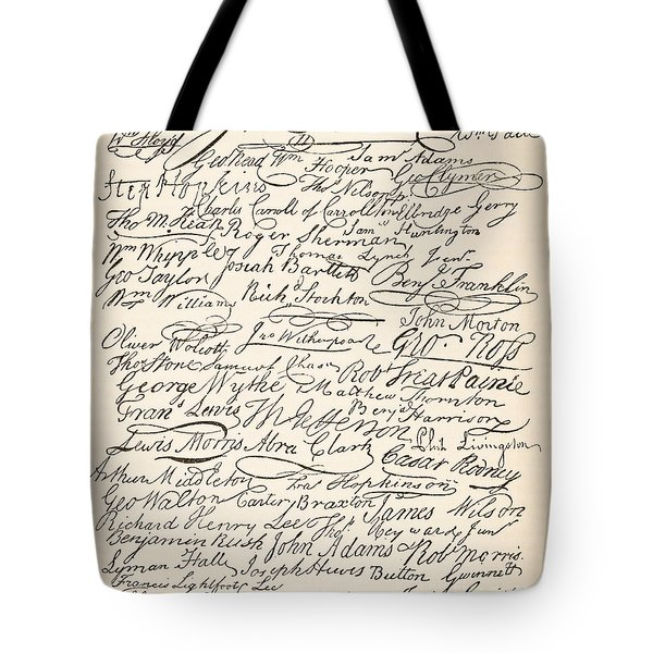 Signatures Attached To The American Declaration Of Independence Of 1776 Tote Bag by Founding Fathers