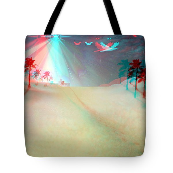Silent Night - Red And Cyan 3d Glasses Required Tote Bag by Brian Wallace