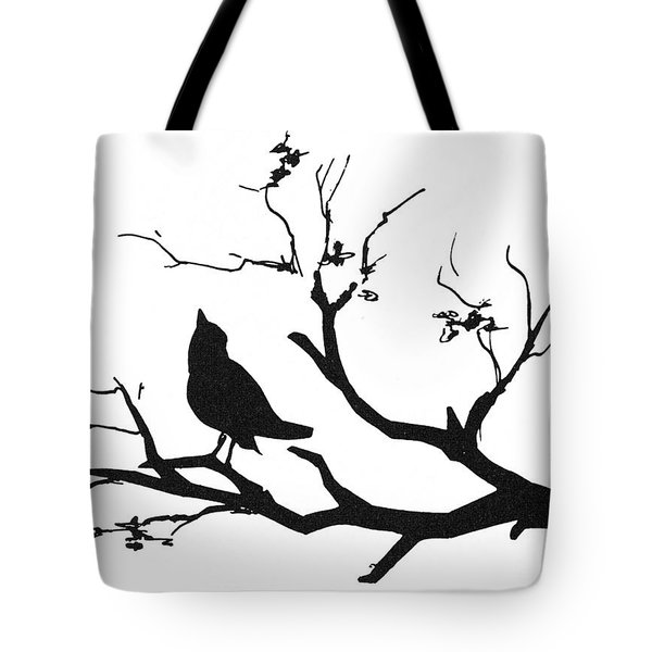 Silhouette: Bird On Branch Tote Bag by Granger