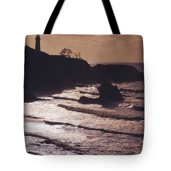 Silhouette Of Lighthouse Tote Bag by Craig Tuttle