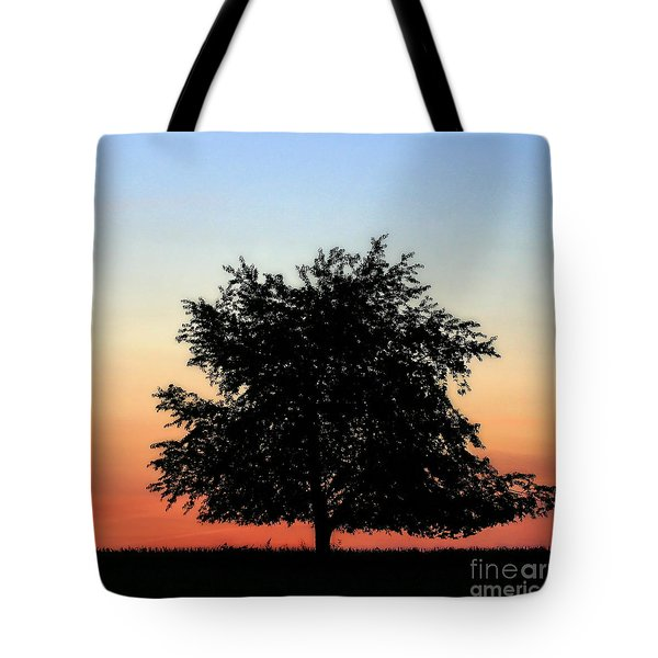 Make People Happy  Square Photograph Of Tree Silhouette Against A Colorful Summer Sky Tote Bag
