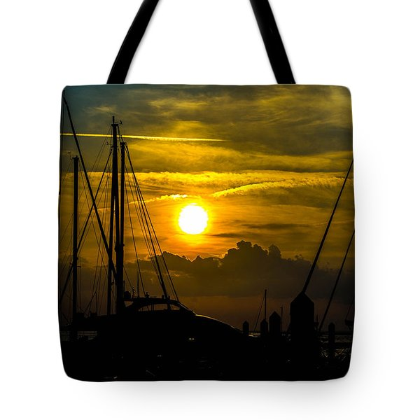 Silhouettes At The Marina Tote Bag by Shannon Harrington