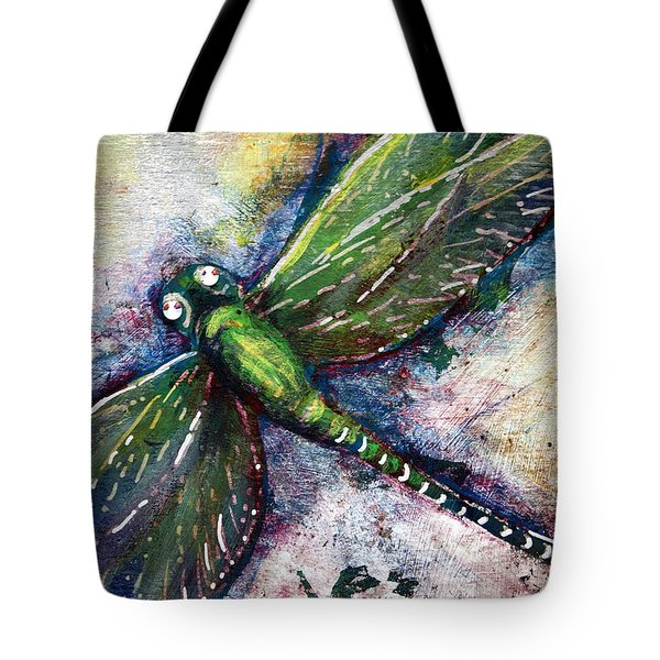 Tote Bag featuring the mixed media Silver Dragonfly by Ashley Kujan