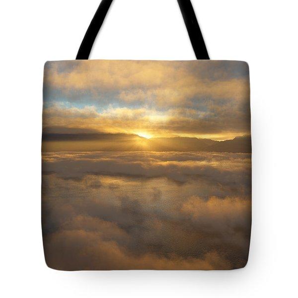 Silver Lake Sunrise Tote Bag by Mark Greenberg
