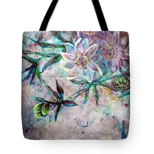 Tote Bag featuring the painting Silver Passions by Ashley Kujan