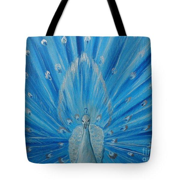 Silver Peacock Tote Bag by Julie Brugh Riffey