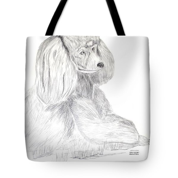 Tote Bag featuring the drawing Silver Poodle by Maria Urso