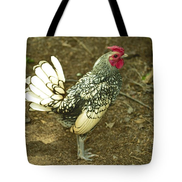 Silver Seabright Rooster Tote Bag