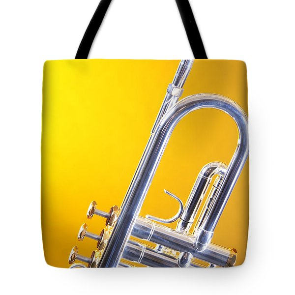 Silver Trumpet Isolated On Yellow Tote Bag