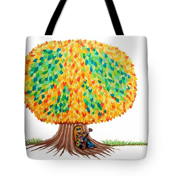 Singing Under The Peace Tree Tote Bag by Nick Gustafson